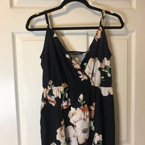 Wrapped belted high low floral cami dress